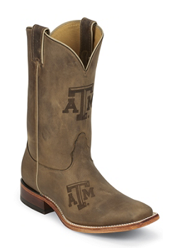 TEXAS A & M BROWN COWHIDE BRANDED TEXAS A & M LOGO CENTERED ON FRONT QUARTER,DOUBLE STITCHED WELT,HANDCRAFTED IN THE USA