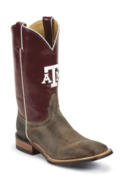 TEXAS A & M TAN VINTAGE COW TEXAS A & M LOGO CENTERED ON FRONT QUARTER,DOUBLE STITCHED WELT,HANDCRAFTED IN THE USA
