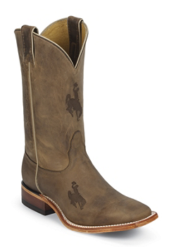 WYOMING BROWN COWHIDE BRANDED WYOMING LOGO CENTERED ON FRONT QUARTER,DOUBLE STITCHED WELT,HANDCRAFTED IN THE USA