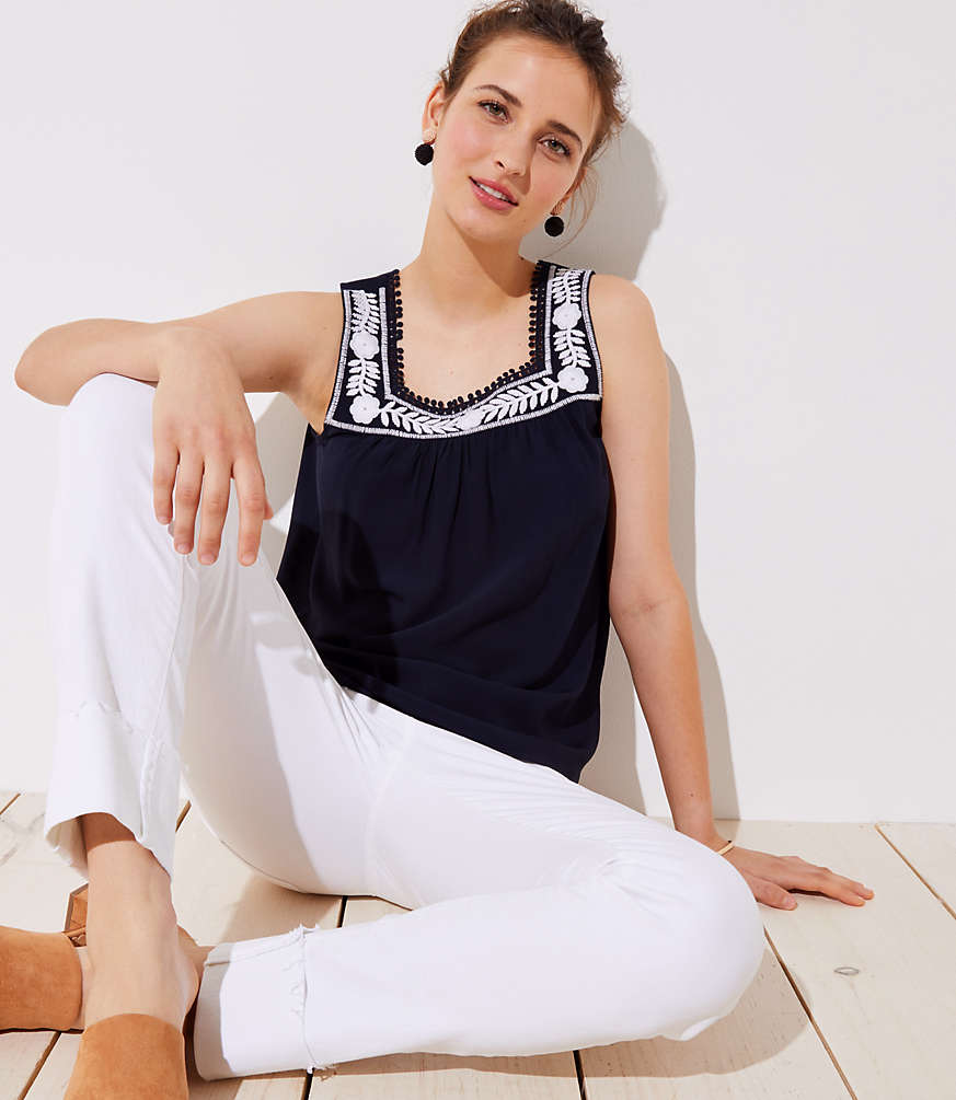 Vine Embroidered Square Neck Tank by Loft