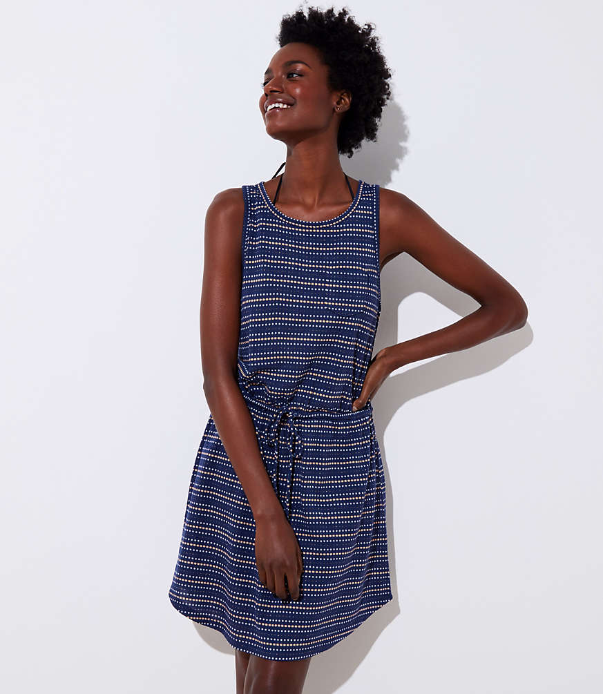 Loft Beach Striped Cutout Drawstring Dress by Loft