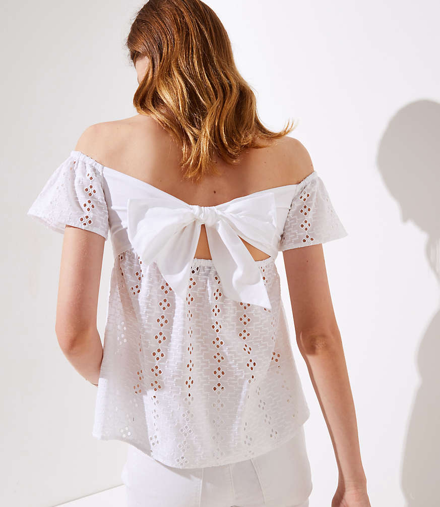 Smocked Eyelet Off The Shoulder Top by Loft