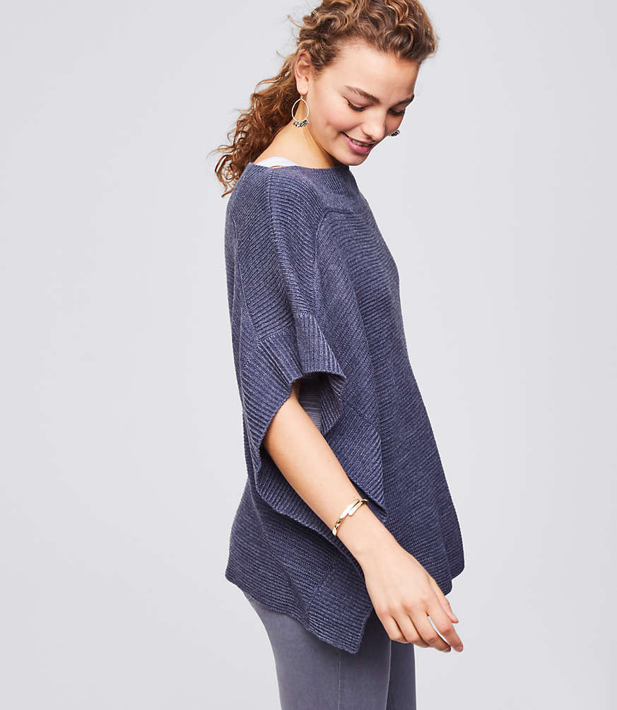 Ribbed Poncho Sweater by Loft