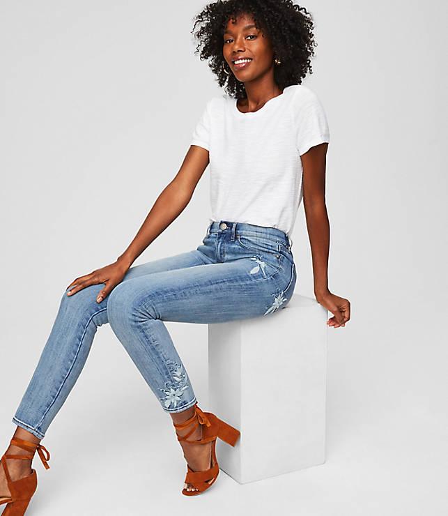 8ba3c431c5ec7 LOFT Outlet Modern Floral Embroidered Skinny Crop Jeans in Light Stonewash