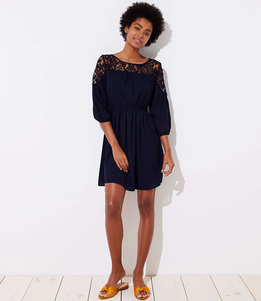 Petite Floral Lace Yoke Dress by Loft