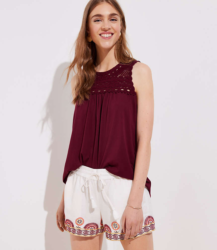 Crochet Yoke Tank by Loft