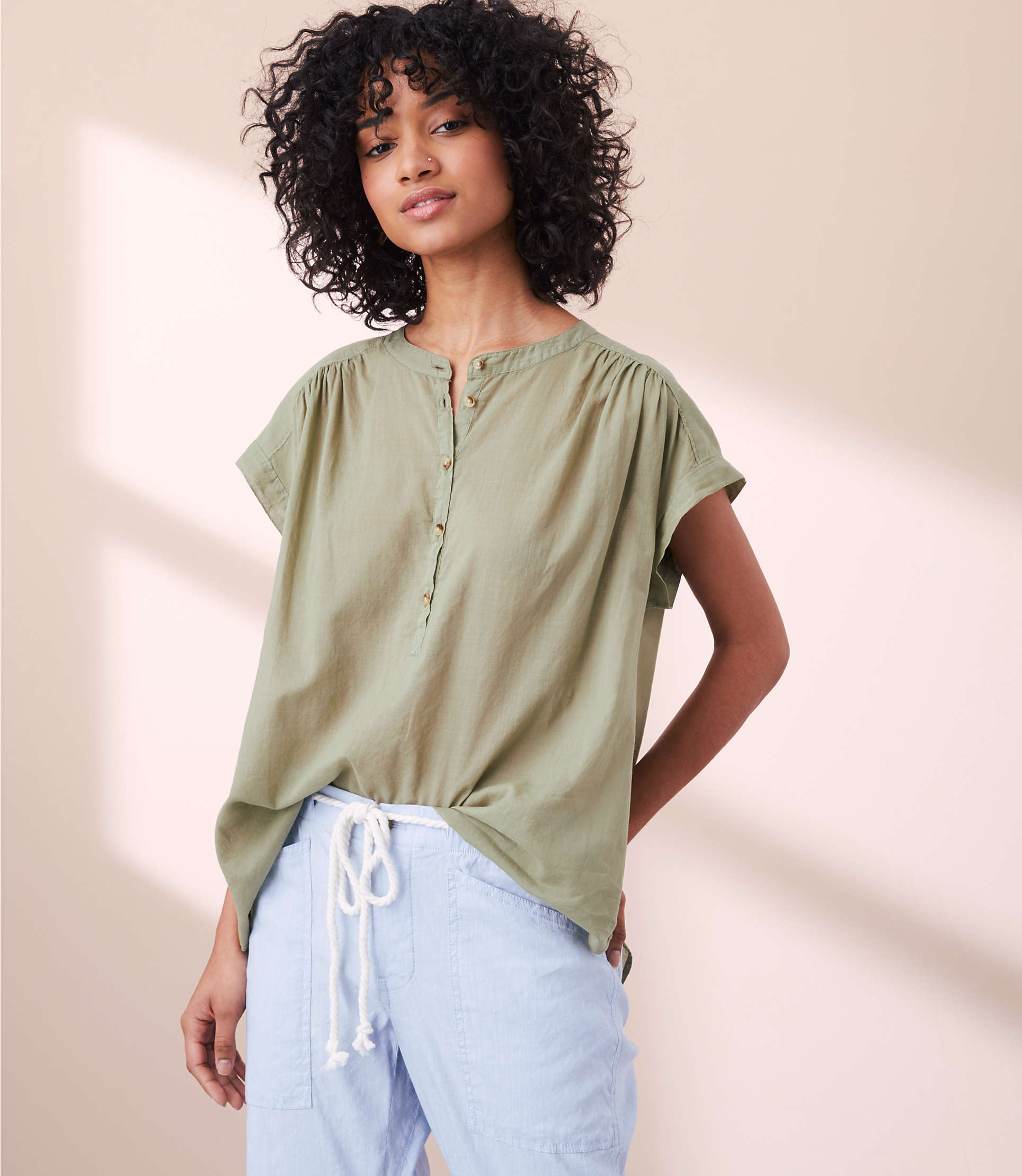 Lou &Amp; Grey Garment Dye Henley Shirt by Lou & Grey