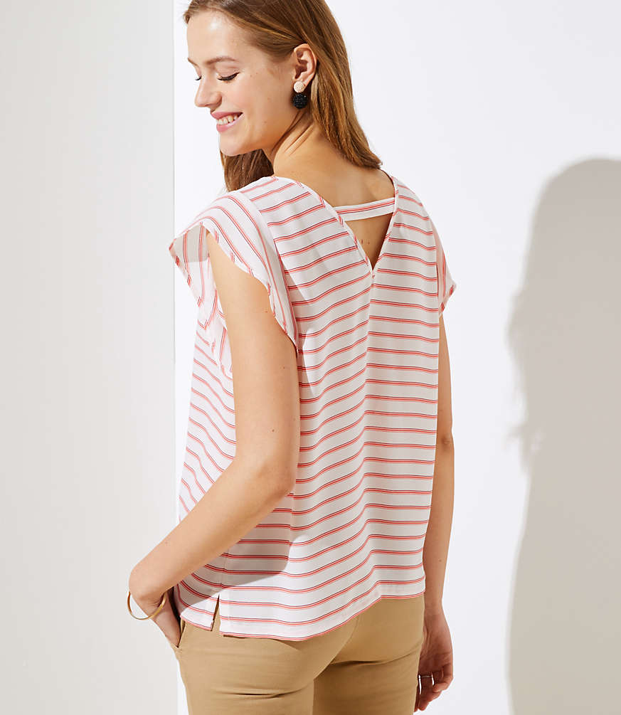Striped Cutout Back Flutter Top by Loft