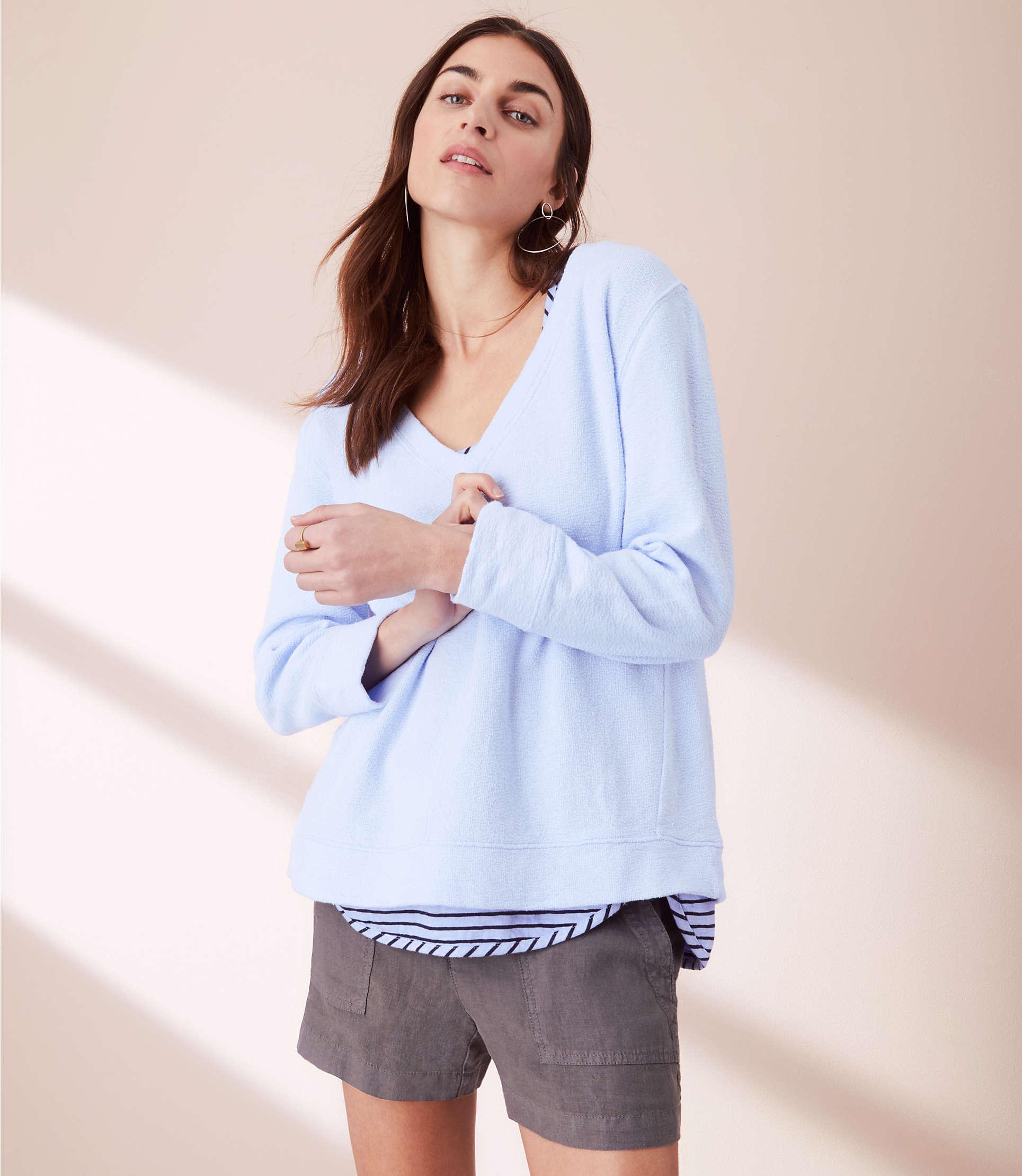 Lou &Amp; Grey Garment Dye V Neck Sweatshirt by Lou & Grey