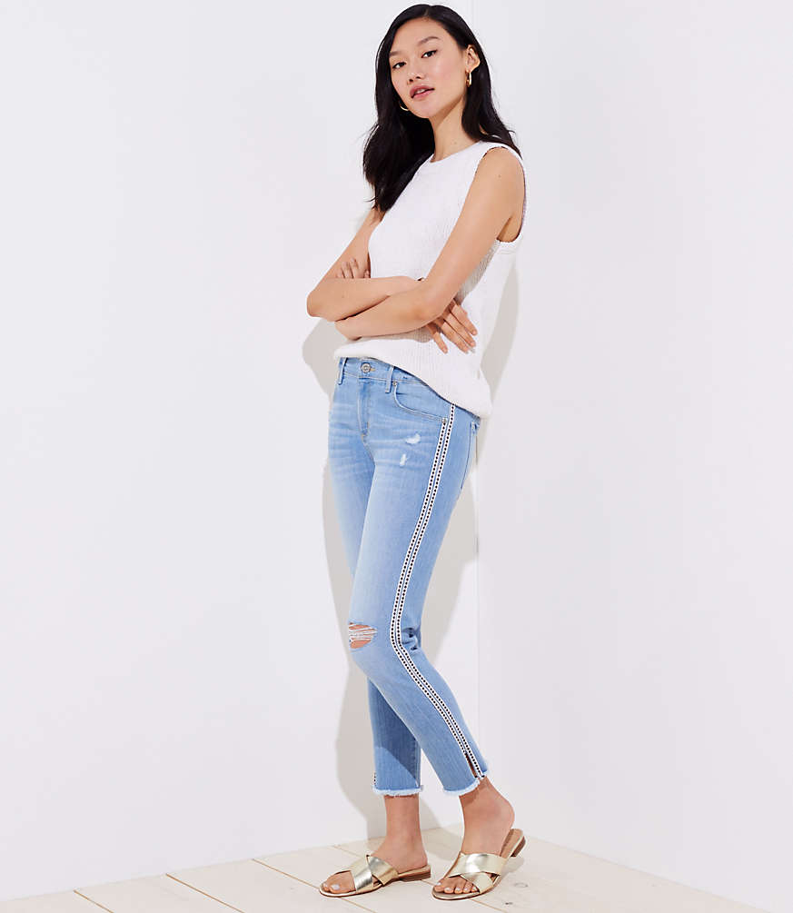Petite Modern Diamond Side Stripe Destructed Skinny Crop Jeans by Loft