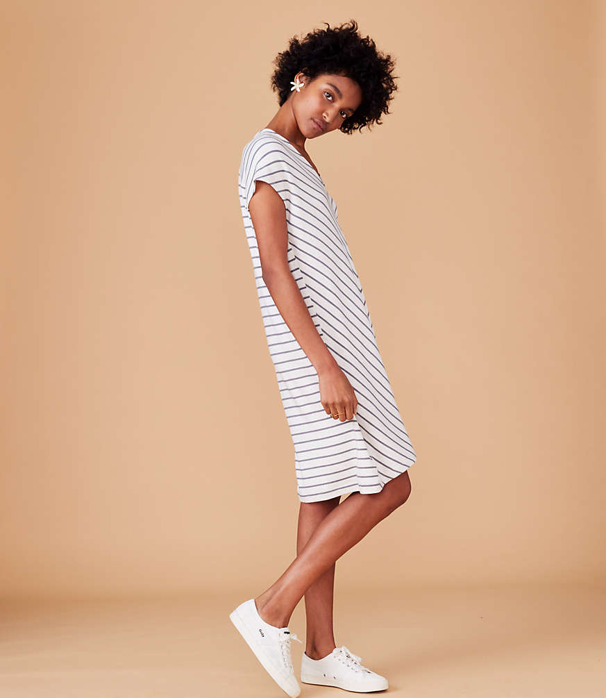 Lou &Amp; Grey Striped Signaturesoft Double V Dress by Loft