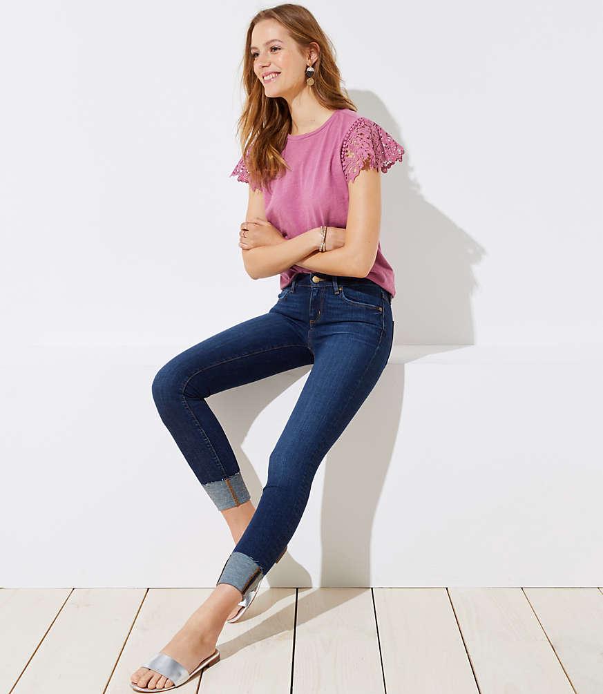 Petite Modern Cuffed Skinny Crop Jeans In Dark Classic Indigo Wash by Loft