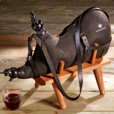 Black Botarrón Wineskin with Wood Stand - 4 Liters