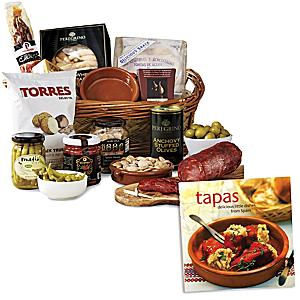 Fiesta Sampler Basket plus 'Tapas: Delicious Little Dishes' Book