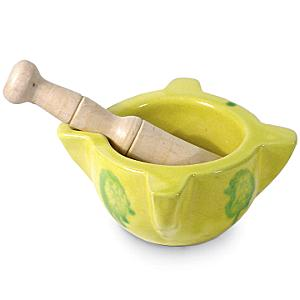 Traditional Yellow Mortar and Pestle