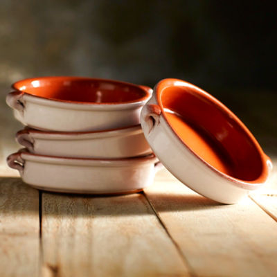 Cloud White Terra Cotta Cazuelas - 4.5 Inches (4 Dishes)
