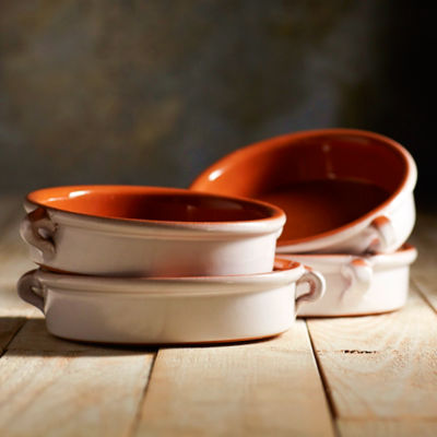 Cloud White Terra Cotta Cazuelas – 6 Inches (4 Dishes)