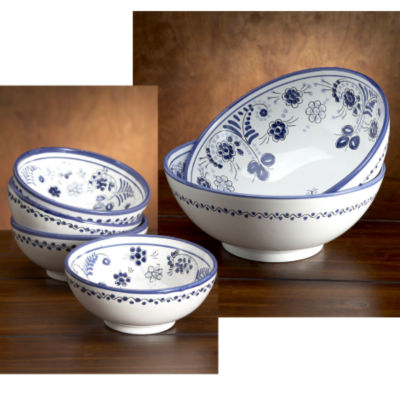 Gazpacho Set - Blue 'Flor' Design