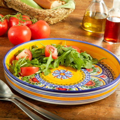 Blue and Yellow Ceramic Salad Platter