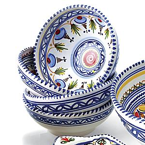 Set of 4 Hand-painted Bowls - 6 Inch Diameter