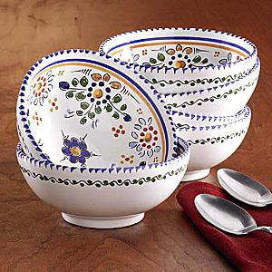 Set of Four Hand-painted Bowls - 6 Inch Diameter each