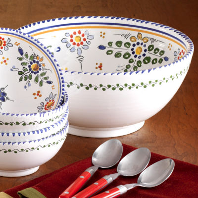 Colorful 'Flor' Design Serving Bowl - 11 Inches Wide