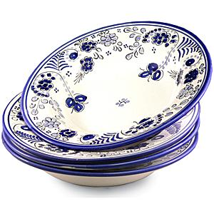 Set of 4 Shallow Pasta Bowls - Blue 'Flor' Design