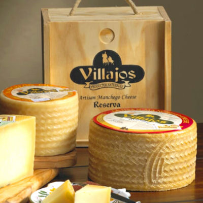 Large Wheel of Villajos 'Reserva' Manchego Cheese in Wooden Box