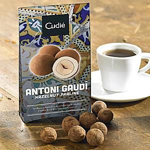 Chocolate Covered Hazelnuts in Antoni Gaudí Box