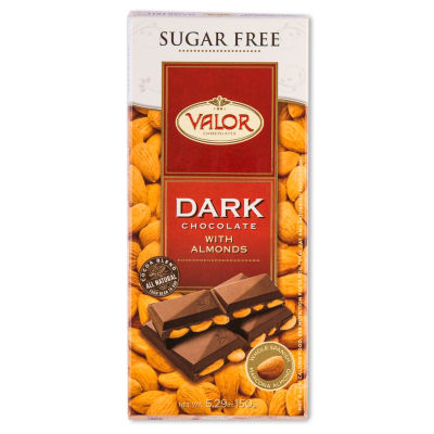 2 Bars of Sugar Free Dark Chocolate with Almonds by Valor
