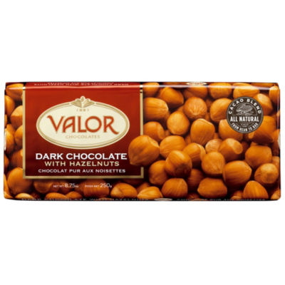 2 Bars of Dark Chocolate with Whole Hazelnuts by Valor