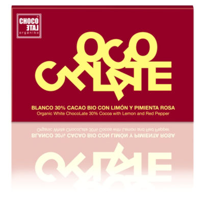 White Chocolate with Lemon and Red Pepper by Orgániko (3 Bars)