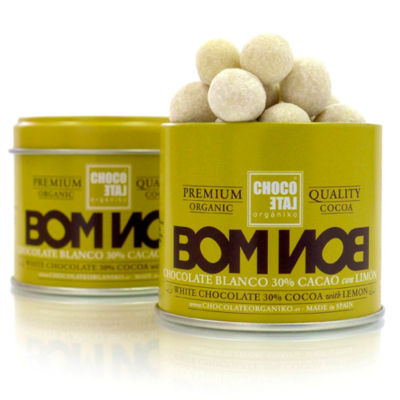 2 Tins of White Chocolate Bonbons with Lemon and Cinnamon by Orgániko