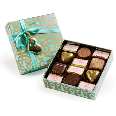 Mini Turquoise Chocolate Gift Box by Farga