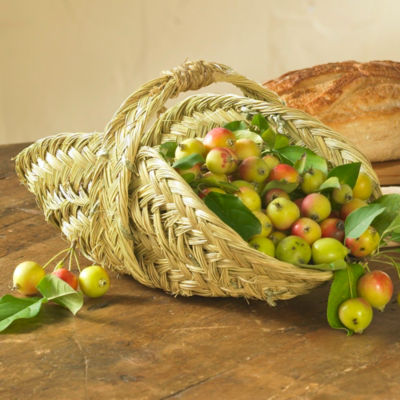 Handwoven Esparto Grass Flower Basket