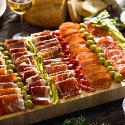 Cured Meats of Spain Sampler Plus Olives and Peppers