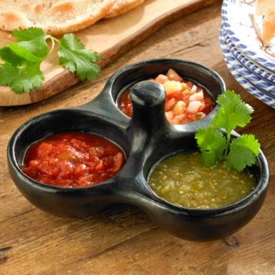 La Chamba Black Ceramic Triple Salsa Dish