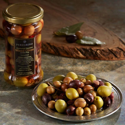 3 Jars of Gourmet Mixed Olives with Pits by Peregrino