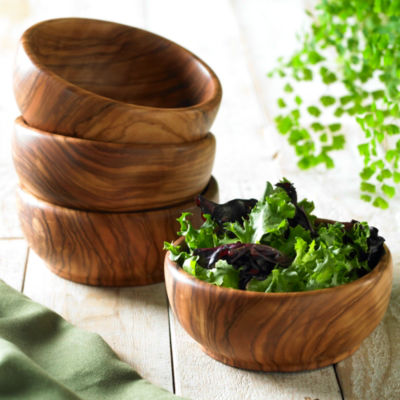 Set of Four Individual Olive Wood Salad Bowls