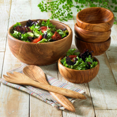 Olive Wood Salad Set