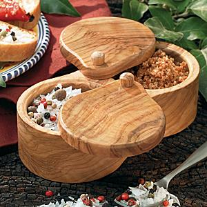 Double Olive Wood Salt and Spice Keeper