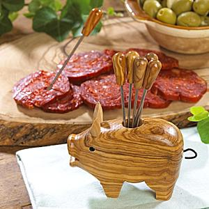 Olive Wood Pig with Appetizer Forks
