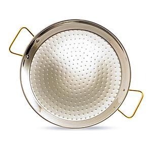 13 Inch Stainless Steel Paella Pan with Gold Plated Handles