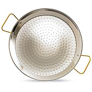 XL - 26 Inch Stainless Steel Paella Pan with Gold Plated Handles