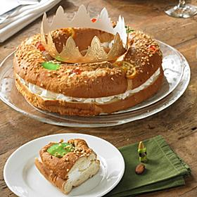 Roscón de Reyes Cake with Cream Filling
