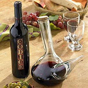 Hand Blown Porrón Pitcher and Codice Wine