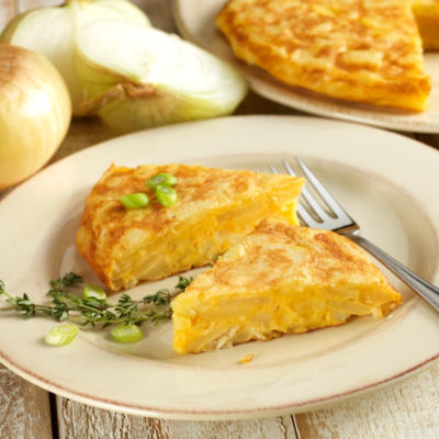 Two Premium Tortilla Española Potato Omelets with Onions