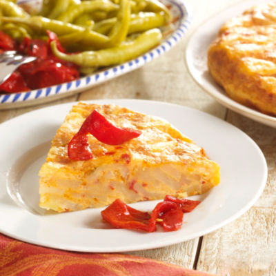 Two Premium Tortilla Española Potato Omelets with Piquillo Peppers