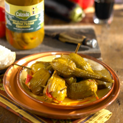 2 Jars of Berenjena Embuchada - Tender Pickled Baby Eggplants