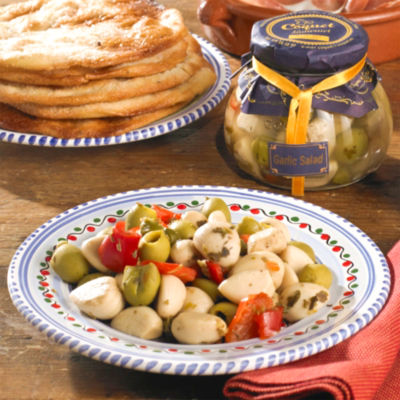 Sweet White Garlic with Olives, Peppers and Capers
